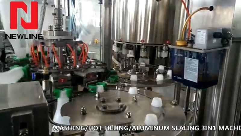 PP Bottle Washing Hot Filling Machine Aluminum Foil Sealing Machine